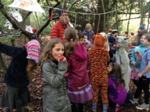 Traditional apple bobbing at Halloween party